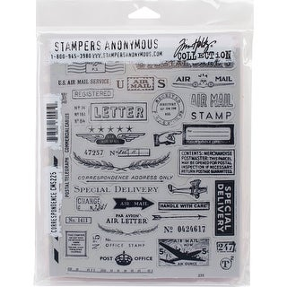 """Tim Holtz Cling Stamps 7""""X8.5""""-Correspondence"""