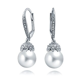 Bling Jewelry Imitation Pearl CZ Drop Leverback Earrings Rhodium Plated Brass