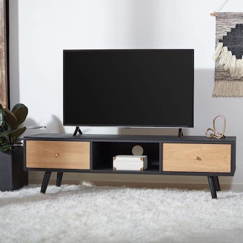 """SAFAVIEH Beatrix Black/ Oak 55-inch Storage TV Media Stand - 55.1"""" W x 15.4"""" L x 16.4"""" H"""