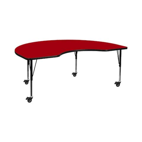 """Offex 48""""W x 96""""L Mobile Kidney Shaped Activity Table with Red Thermal Fused Laminate Top and Height Adjustable Pre-School Legs"""