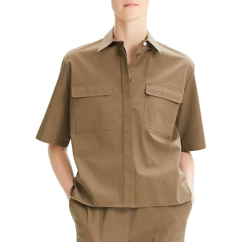 Theory Womens Button-Down Top Classic Utility - Cargo