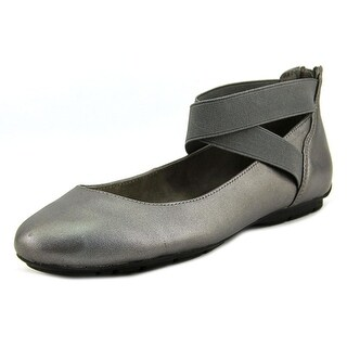 Anne Klein It Can Be Women  Round Toe Leather Silver Ballet Flats