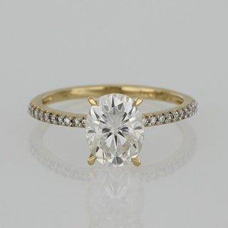 Link to Exclusive - Oval 2ct TGW Moissanite and 1/10ct TDW Diamond Engagement Ring in 14k Yellow Gold by Miadora Similar Items in Rings