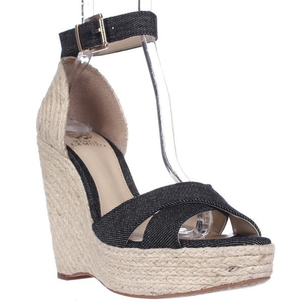 Vince Camuto Maurita Ankle Strap Wedge Sandals, Dark Indigo/Natural