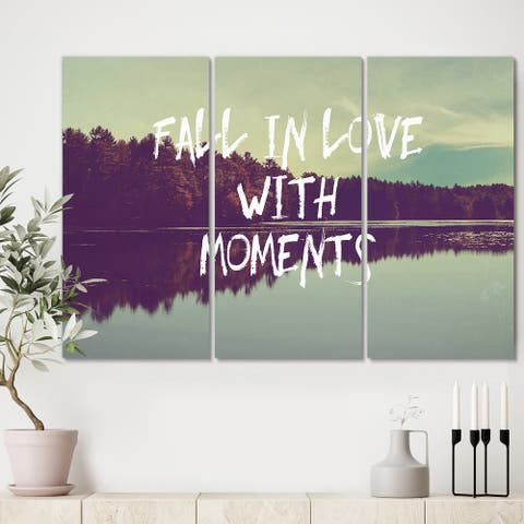 Designart 'Fall in Love with Moments' Cottage Canvas Wall Art - 36x28 - 3 Panels