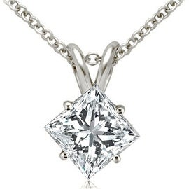 0.50 ct.tw 14K White Gold Princess Cut Diamond 4-Prong Basket Solitaire Pendant GH, SI1-2 (2 options available)