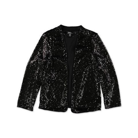 Kensie Womens Sequins Bolero Jacket, black, X-Small