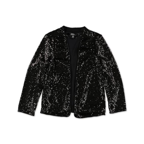Kensie Womens Sequins Bolero Jacket, black, X-Small