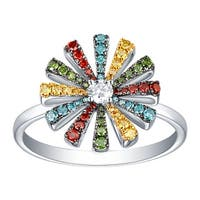 Prism Jewel 0.42Ct G-H/SI1 Multi Color Diamond with Natural Diamond Floral Ring - White