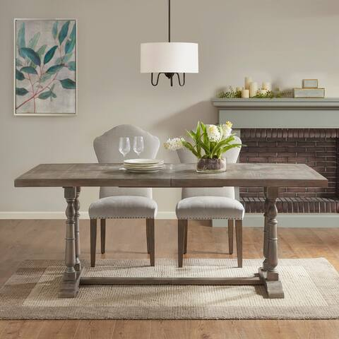 Tristan Natural/ Grey Rectangular Dining Table 2 pedestal leg by Martha Stewart