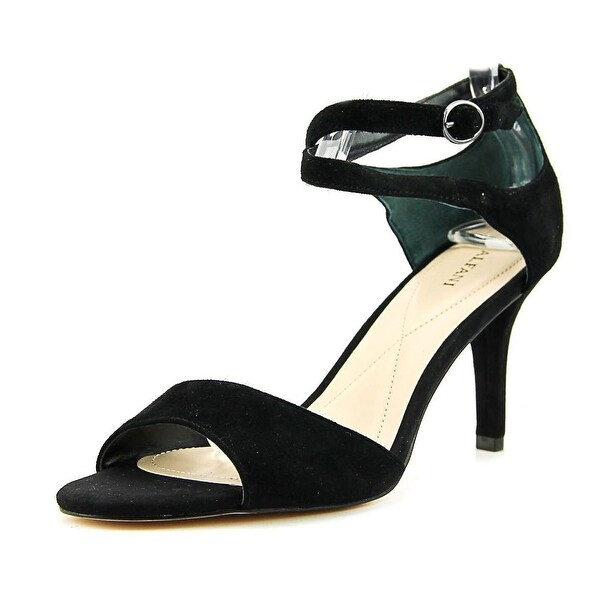 Alfani Ginii Women Open-Toe Leather Black Slingback Heel
