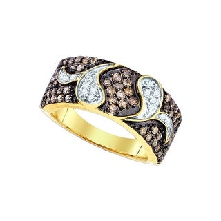 10k Yellow Gold Womens Cognac-brown Colored Diamond Cocktail Fashion Band Ring 7/8 Cttw - Brown/White