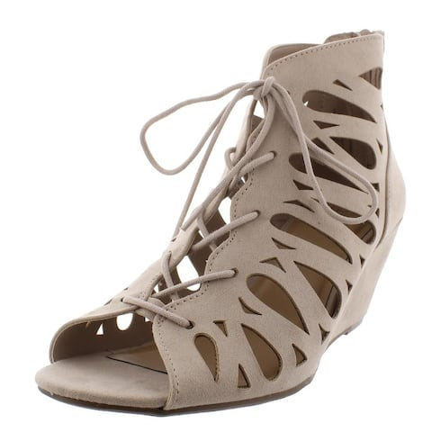 Material Girl Womens HARLIE Gladiator Sandals Lace Up Heeled