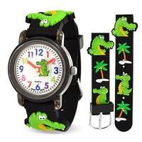 Bling Jewelry Black Alligator Palm Tree Kids Watch Stainless Steel Back