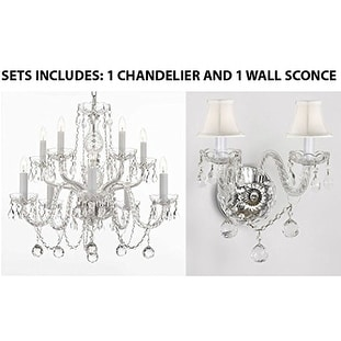 Set Of 2 1 Swarovski Chandelier With Crystal Balls And 1 Murano Venetian Style Wall Sconce With Crystal Balls And White Shades