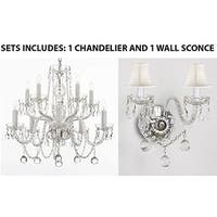 Set of 2 - 1 Swarovski Chandelier With Crystal Balls and 1 Murano Venetian Style Wall Sconce With Crystal Balls And White Shades