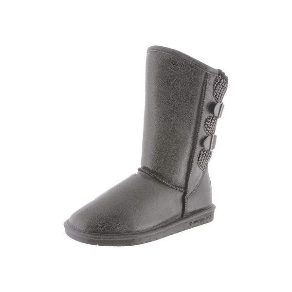 Bearpaw Boots Womens Boshie Buckles Pressed Suede Knit