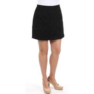 MAISON JULES $50 Womens New 1734 Black Glitter Textured Mini A-Line Skirt 10 B+B