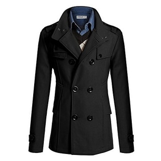 Doublju Mens Wool Blend Double-Breasted Pea Coat