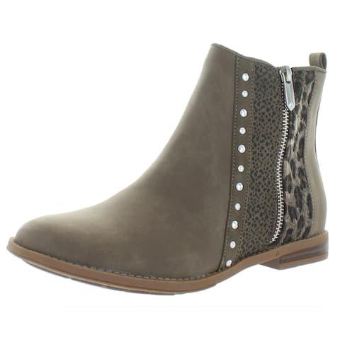 Sam Edelman Womens Penny Teri Ankle Boots Nubuck Animal Print - Taupe