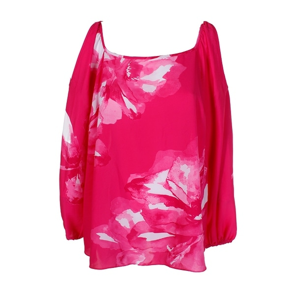 8096723bc0f Inc International Concepts Plus Size Pink Floral Cold-Shoulder Blouse 1X