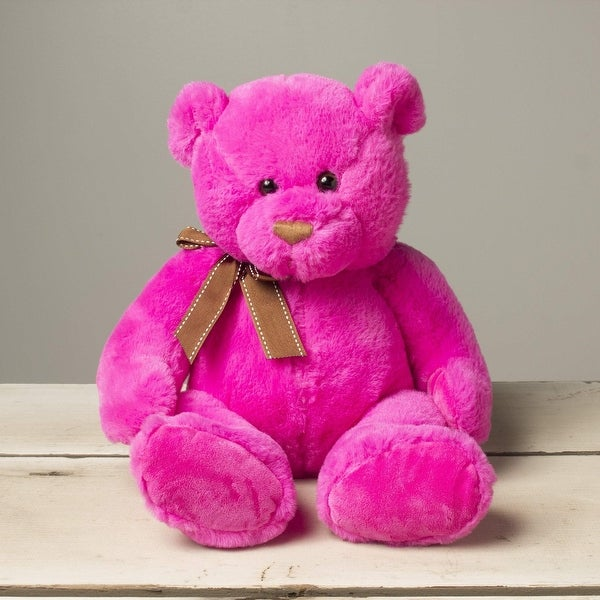 Gitzy Sitting Teddy Bear - Colorful Stuffed Animal for Kids - 12 Inch Plush Bear - Pink. Opens flyout.