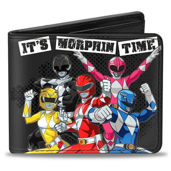 5 Power Rangers Group Pose It's Morphin Time + Mighty Morphin Power Rangers Bi-Fold Wallet - One Size Fits most