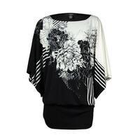 Alfani Women's Inverse Flower Jersey Blouson Blouse - Black/White - pxs