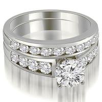 2.15 cttw. 14K White Gold Classic Channel Set Round Cut Diamond Bridal Set
