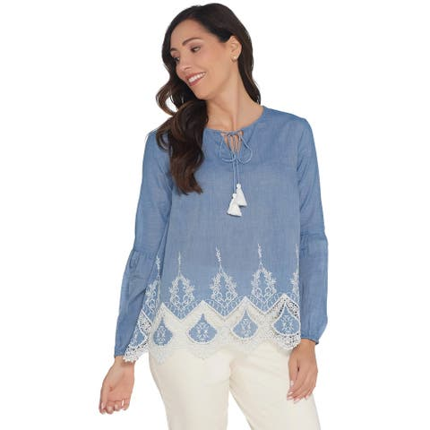 Du Jour Womens Plus Woven Top with Lace Applique and Tassels 3X Indigo A308035