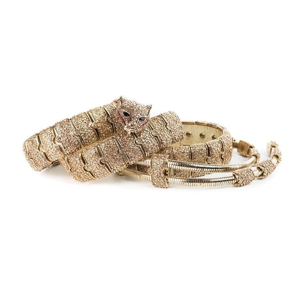 Cavalli Gold Tone Jaguar Buckled Embellished Chain Link Belt