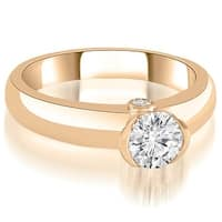 0.77 cttw. 14K Rose Gold Bezel Set Round Cut Diamond Engagement Ring