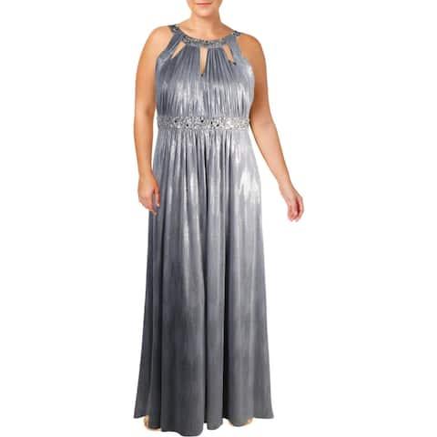 Jessica Howard Womens Evening Dress Metallic Keyhole