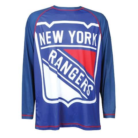 Calhoun Men's NHL Big Logo Long Sleeve Performance Hockey Shirt-New York Rangers