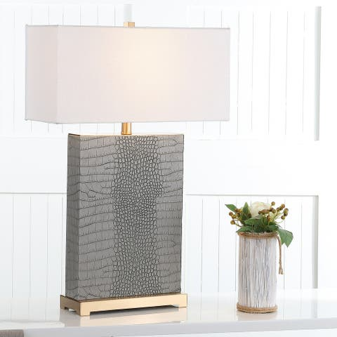"Safavieh Lighting 28-inch Joyce Faux Alligator Grey Table Lamp (Set of 2) - 18""x8 ""x27.75"""