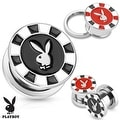 Playboy Bunny Poker Chip 316L Surgical Steel Screw Fit Plug (Sold Individually) - Thumbnail 0