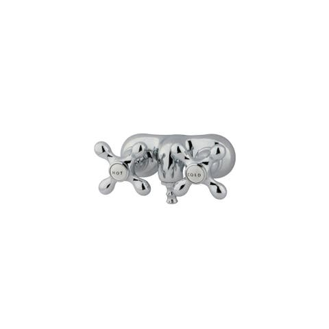 """Elements Of Design DT0421AX Double Handle Wall Mounted Clawfoot Tub Filler with 3-3/8"""" Center, Non-Code Spout and Metal Cross"""