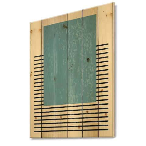 Designart 'Minimal Geometric Compostions Of Elementary Forms XII' Modern Print on Natural Pine Wood