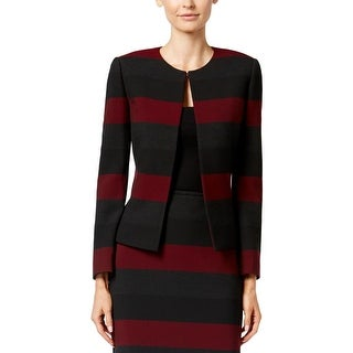 Tahari ASL Womens Open-Front Blazer Striped Colorblock Red 6