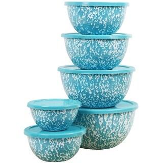 Calypso Basics by Reston Lloyd Marble 12 Piece Enamel on Steel Bowl Set, Turquoise
