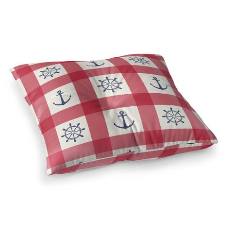 ANCHOR GALORE RED and BLUE Floor Pillow by Kavka Designs