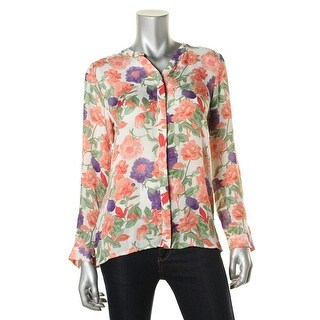 Joie Womens Devitri Silk Floral Print Button-Down Top - S