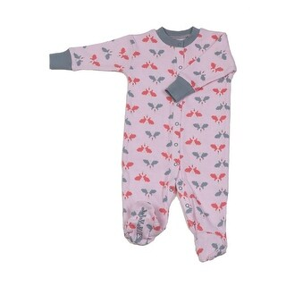 New Jammies Baby Girls Pink Bunny N Carrots Organic Cotton Footie Romper