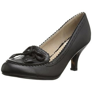 Bettie Page Womens Capri Faux Leather Round Toe Loafer Heels