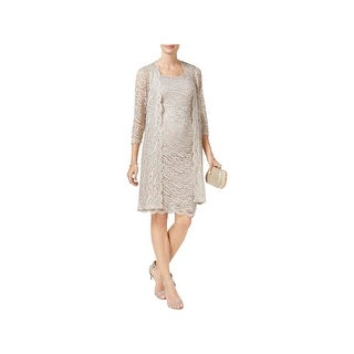 R&M Richards Womens Dress With Cardigan Lace Popover