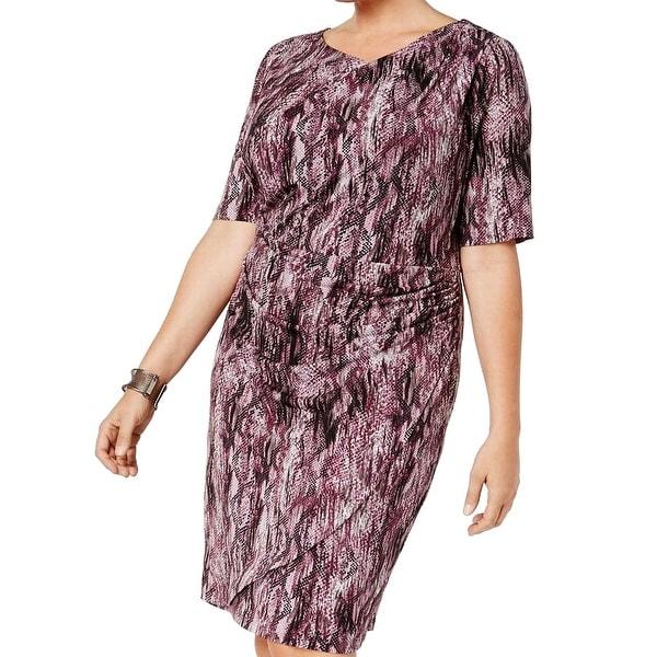 Connected Apparel Purple Women's Size 20W Plus Snake Print Dress