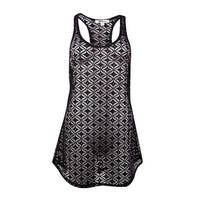Miken Women's Crochet Lace Tank Swim Coverup