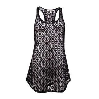 Miken Womens Crochet Lace Tank Swim Coverup (S, Black) - S