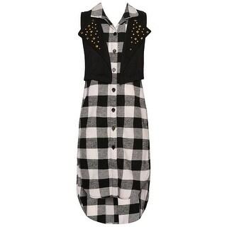 Girls Black Checkered Pattern Studded Vest Sleeveless Casual Dress