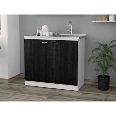 TUHOME Napoles Utility Sink cabinet Espresso